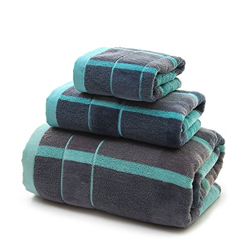 VANWEIDI Bath Hand Towel Sets - Yoga 3pc Hotel & Spa Quality Luxury Bathroom Beach Sheet Super Absorbent Soft Light Rugs - 100% Cotton(Blue)
