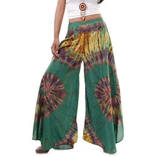 Princess of Asia Extrem Weite Damen Hippie Ethno Goa Thai Hose Schlaghose 36 38 40 S M (Grün)