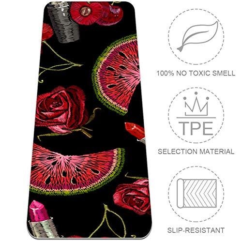 BestIdeas TPE Yoga Mat Rood Rose Fruit En Lippenstift Deken voor Yoga Pilates Vloer Oefening ECO Vriendelijk Antislip Ontwerp