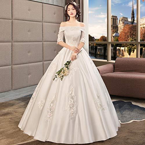 FAPROL Satin Brautkleid, Europa Und Amerika Luxuriöse Prinzessin Sexy Schulterfrei 3D Handstickerei Spitze Applique Abendkleid M