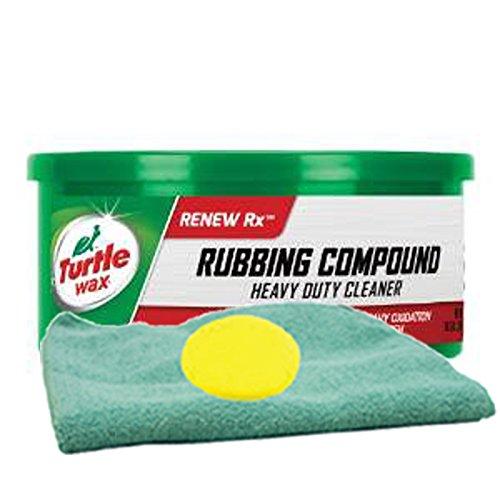 Turtle Wax Rubbing Compound (10.5 oz.) Bundle with Microfiber Cloth & Foam Pad