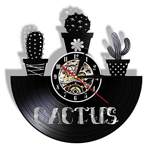 LWXJK Cactus En Maceta De Arte Cactus Vintage Disco De Vinilo Reloj De Pared De La Naturaleza De La Planta Suculenta De La Pared De Arte Decorativo Reloj De Cactus Decoración para El Hogar