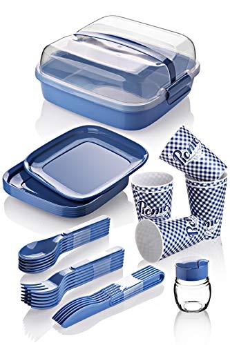 BEFA Picknick Set 6 Personen | BPA Frei | Camping Geschirr Set Gabel, Messer, Löffel, Teller, Becher, Salzstreuer | Picknickkorb | Picknicktasche
