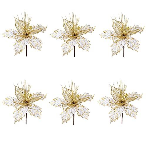 SMLJFO 6 flores artificiales de Navidad de Poinsettia para decoración de árbol de Navidad de 8 pulgadas con purpurina...