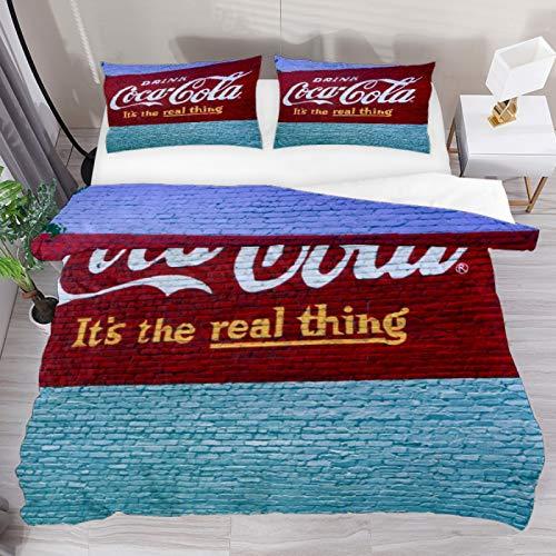 Set di biancheria da letto per letto super king size, motivo Coca Cola, 3 pezzi, copripiumino e 1 federa per cuscino, 1 copripiumino