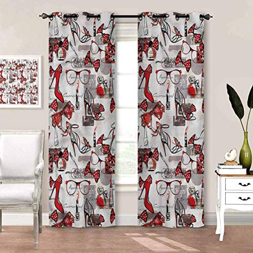 Curtain Girls, Fashion Themed Heels and Bags Light Blocking Print Window Curtains Beautiful, Soft W72 x L72 Inch