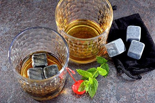 GRÄWE 6 Stück Whisky-Steine Kühlsteine aus Granit inkl. Beutel - 3