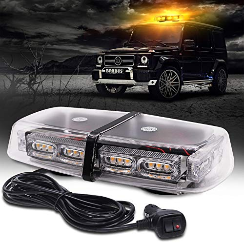"""ASOKO Amber Strobe Light for Trucks, Emergency Lights for Vehicles, 36LED Safety Warning Lights with 16 Flashing Modes,12"""" Yellow Beacon Light for Construction Cars Snow Plow, DC12/24V, Magnetic Base"""