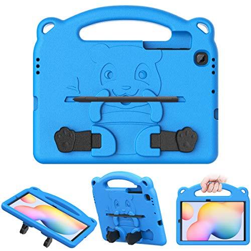 MoKo Funda Compatible con Galaxy Tab S6 Lite 2020, Funda Protectora de EVA Super Protección a Prueba de Golpes con Diseño de Osito y Portalápiz para Galaxy Tab S6 Lite 10.4 2020 SM-P610/P615 - Azul
