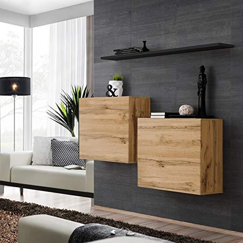ASM Switch I Sideboard Set mit Wandregal 130cm breit Zwei quadratische Schränke Push-CLICK Türen Wotan Eiche schwarz Hochglanz