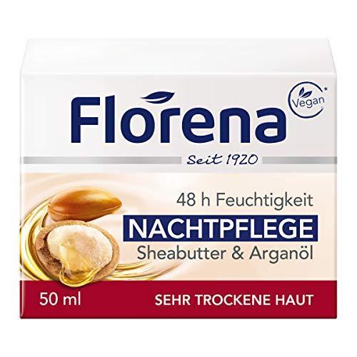 Florena Nachtpflege mit Sheabutter & Arganöl Vegan, 1er Pack, (1 x 50 ml)