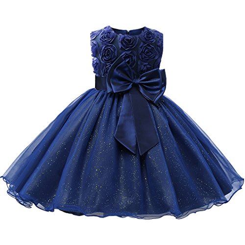 Niyage Girls Party Dress Princess Flowers Glitter Wedding Dresses Toddler Baby Pageant Tulle Tutus Royal Blue 110