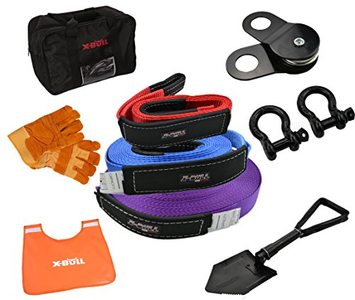 X-BULL Recovery Winch Kit (11PCS) Rigging kit including Gear Bag, Snatch Block Pulley, 3 Recovery Strap?D Rings Leather Gloves Shovel