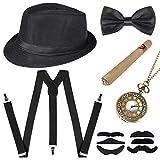 Sinoeem 1920s Herren Accessoires Inklusive Panama Gangster Hut Verstellbar Elastisch Hosenträger...