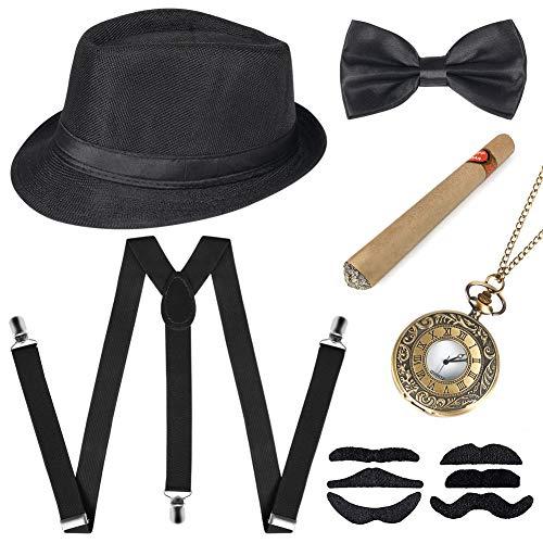 Sinoeem 1920s Herren Accessoires Inklusive Panama Gangster Hut Verstellbar Elastisch Hosenträger Herren Halsschleife Fliege Taschenuhr und Plastik Zigarre (Schwarz)