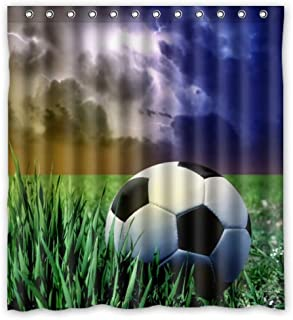Cool Day Soccer Football In Grassland Shower Curtain (Shower Rings Included) 66