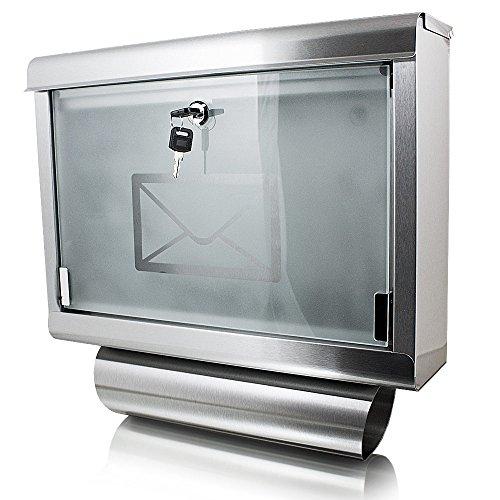 Edelstahl Wandbriefkasten Briefkasten Postkasten Mailbox Letterbox mit Zeitungsrolle und Glasfront