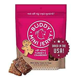Buddy Biscuits Mini Jerky, Made in USA, Premium Dog Treats, Natural Turkey & Cranberry 4oz