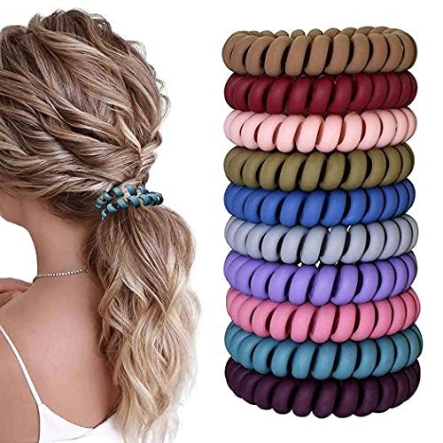 Spiral Elastische Haargummi Hochwertige 20 Stück,10 Farben Haargummis für Weniger Spliss und Gebrochene Haare,Haargummi Spirale für Feine Haarpartien,Telefonkabel Spiralhaargummi für Mädchen und Damen