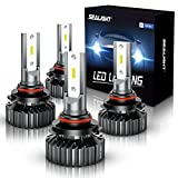 SEALIGHT Scoparc S1 9005/HB3 9006/HB4 LED Headlight Bulbs, 14000 Lumens High Low Beam, 6000K Bright White, 300% Brightness, Combo Package CSP Led Chips Hi/Lo lights, Pack of 4