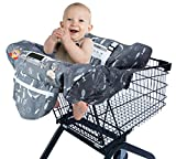 Shopping Cart Cover for Baby or Toddler, 2-in-1 Fit Restaurant High Chair Cover for Baby Boy or Girl, Machine Washable (Black Grey Fish)