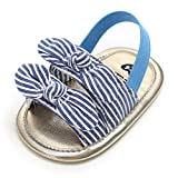SOFMUO Infant Baby Girls Summer Sandals with Bownot Soft Sole Non-Slip Newborn Toddler First Walker Crib Dress Shoes (Stripe,12-18 Months)
