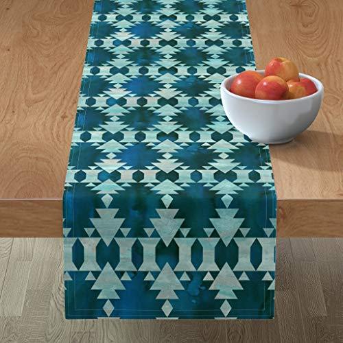 Roostery Tablerunner, Tribal Kilim Geometric Bohemian Blue Southwestern Boho Style Print, Cotton Sateen Table Runner, 16in x 90in