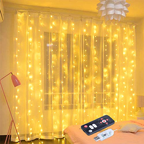 LightTheBo イルミネーションライト ジュエリーライト 300LED電球3M*3M カーテンライト屋内屋外使用可能 LED クリスマスライト IP67防水 8 種類の切替モード リモコン付き クリスマス/結婚式/誕生日/パーティー/学園祭/庭/広場/街路樹装飾【USB式 】