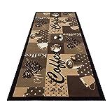 HOMEFACTO:RI Küchenläufer Küchenteppich Teppichläufer Läufer Kaffee Cafe Coffee   waschbar, Größe:ca. 60 x 180 cm, Designs:Kaffee   beige braun - 4