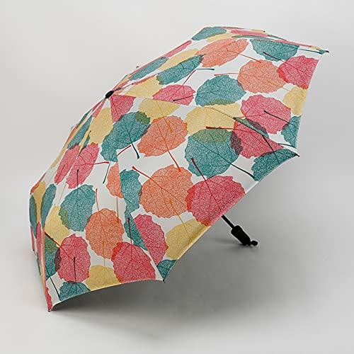 PUK Sombrilla de Vinilo Sombrilla Sunny Rain Sombrilla Plegable Triple Hojas de Arce Impresiones