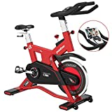 cycool Stationary Exercise Bikes Indoor Cycling with 44 lbs Flywheel,LCD Monitor,Belt Drive, Comfortable Seat for Home Cardio Workout Bike Training (Red580-03)