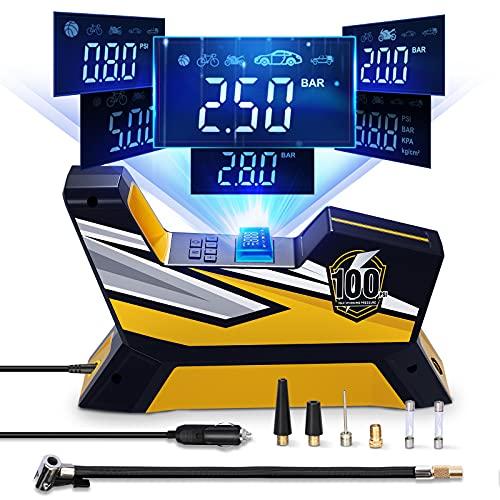 Tire Inflator Portable Air Compressor, Bike Tire Pump, DC 12V Auto Vehicle Electric Air Pump for Car...