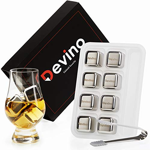 Devino® Edelstahl Eiswürfel [8er Set] mit praktischer 2in1 Box I Wiederverwendbare Whisky Steine in Hochwertiger Magnetverpackung I Für alle die Whisky lieben