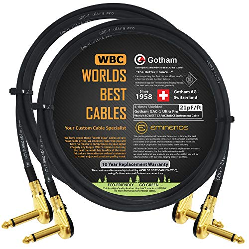 8 Inch Custom Made by WORLDS BEST CABLES Gotham GAC-1 Ultra Pro 6.35mm Guitar Bass Effects Instrument Low-Cap 21pF//ft Low-Profile R//A Pancake Plugs S-Shaped Patch Cable /& Gold 6 Units