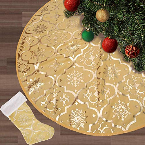 FLASH WORLD Christmas Tree Skirt,48 inches Large Xmas Tree Skirts with Snowy Pattern for Christmas Tree Decorations (Yellow)