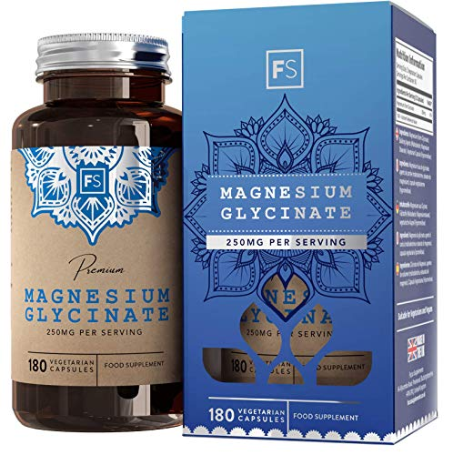 FS Magnesium Glycinate Capsules | 1250mg of Glycinate Providing 250mg of Pure Elemental Magnesium Per Serving | 180 Vegan Caps | Magnesium Supplement | Non GMO, Dairy & Gluten Free | Made in the UK