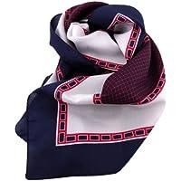 ohne Markenname satén de las señoras del pañuelo azul oscuro rojo plata 90 x 90 - paño nicki paño bufanda