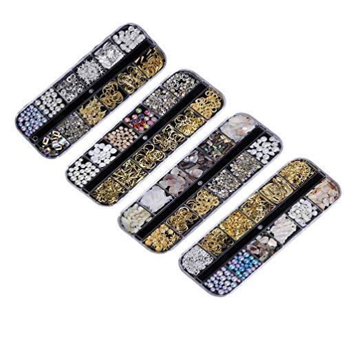 Minkissy 4 Ensembles 3D Nail Art Strass Étoile Lune Coeur Triangle Carré Rivet Gemmes Ongles Bijoux pour Nail Art Décorations Fournitures