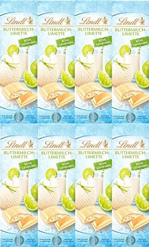 Lindt SommerTafeln Buttermilch Limette Weisse Schokolade 8x100 gr.