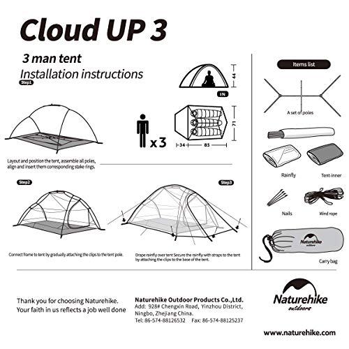 Naturehike Cloud-Up 3 Person Lightweight Backpacking Tent with Footprint - 3 Season Free Standing Dome Camping Hiking Waterproof Backpack Tents(210T Orange)