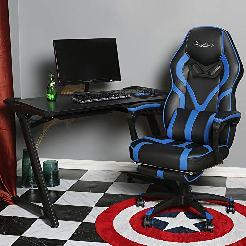 Video Gaming Chair Racing Recliner - Ergonomic Adjustable Padded Armrest Swivel High Back Footrest Headrest Lumbar Support Pillow Leather Bucket Office Computer for PS5 Vibrate Massage Blue