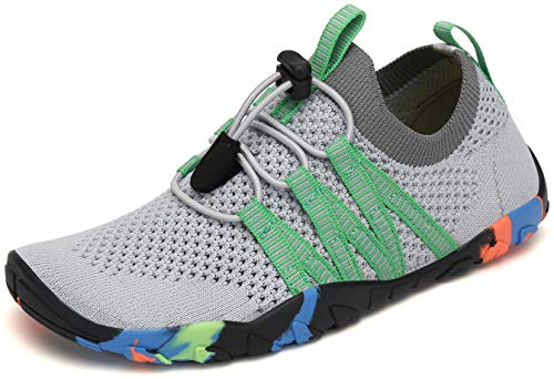 SAGUARO Zapatos de Agua Niños Escarpines Piscina Secado Rápido Niñas Zapatos de Natacion Respirable Antideslizante Escarpines para Acuáticos Snorkel Vela, Moneda Gris, 35 EU