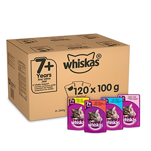 Whiskas 7+ Cat Pouches Mixed Selection en gelatina, 120 unidades x 100 g 🔥
