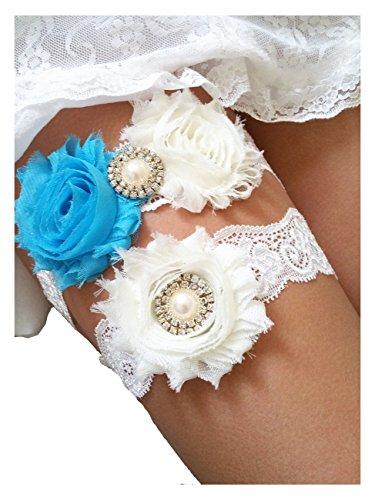 Wedding Garters for Bride Lace Vintage Ivory Blue Keepsake Toss Garter Set of Two for Prom Bridal Gift