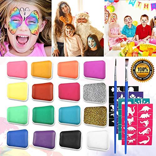 Pintura Facial Maquillaje,Emooqi 16 Colores Pintura de Cara Pintura de Maquillaje Para Niños con 2 Piezas de Polvo de Brillo+2 Pinceles+40 Plantillas,Regalo Para Niños,Seguro,No tóxico, No Alérgico