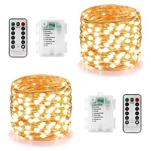 Lichterkette Batterie Aussen, 2er 12M 120 LEDs Lichterkette dimmbar mit Fernbedienung, 8 Modi, Wasserdicht, Warmweiße Lichterketten als Deko für Camping Urlaub, Innen, Garten Balkon