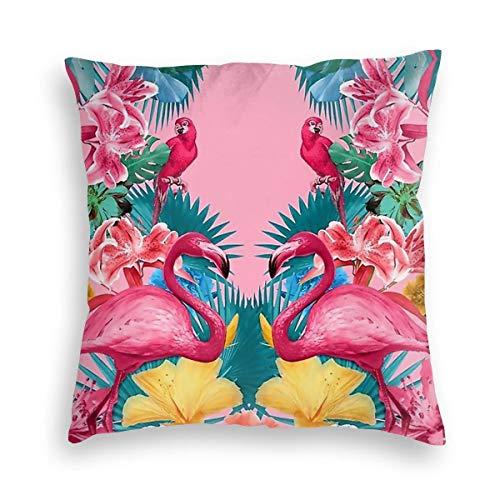 KXT Flamingos Tropical Garden Decorative Velvet Throw Pillow Covers,Cushion Case for Couch Sofa Bed 18'' x 18