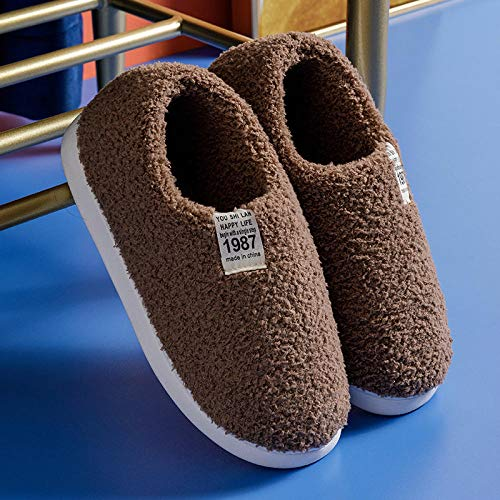 Nwarmsouth Slippers Unisex-Adulto,Bolso de Suela Gruesa con Zapatos de algodón, cálidas Pantuflas de Invierno-Coffee_37-38,Zapatos de casa con Suela antides
