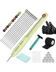 ATOMUS Hand Poke en Stick Tattoo Kit 10 Stuks Tattoo Inkt Cup Levering Hand Poke Pen 3RL 5RL 7RL 9RL Tattoo Naalden Bandages Wegwerp Waterdichte Doek Bureaumat