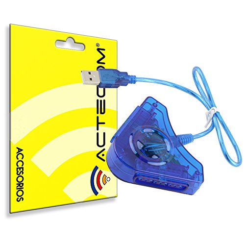 actecom® Adaptador Conversor de Mando *Azul* PS1 PS2 PSX para PC PS3...
